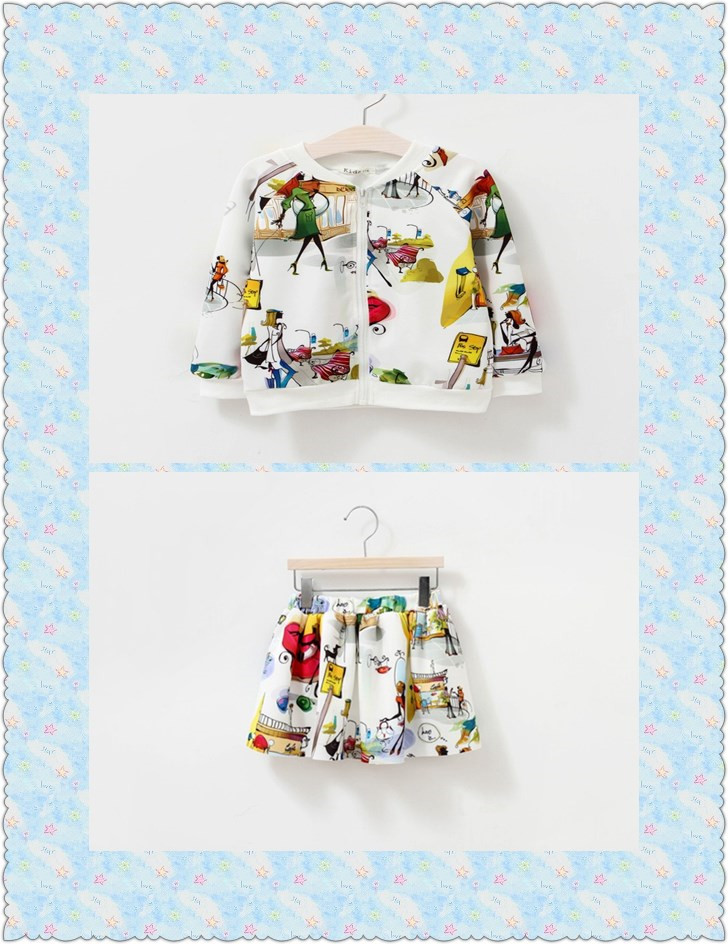 Wholesale cartoon matching clothing set Baby graffiti suits kids skirt and top sets