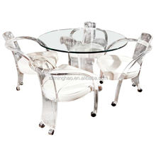 Clear acrylic lucite dining table and chairs set