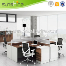 Alibaba Fashion Style Modern Office Desk Dividers Melamine Board Staff Cubicles Computer Wooden Partition Design
