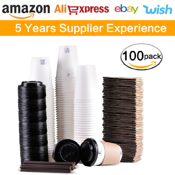 Luckypack 12oz paper cup with lid and straw,coffee cup with lid,paper disposable cup with straw
