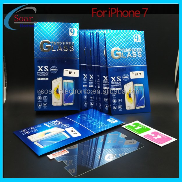 9H high quality shock proof 0.3mm tempered glass for iPhone 7 Screen protector