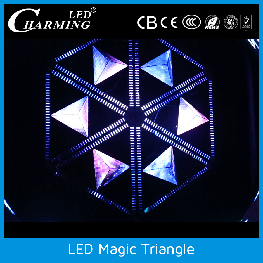 CE ROHS Changeable Led display/3d led triangle wall screen