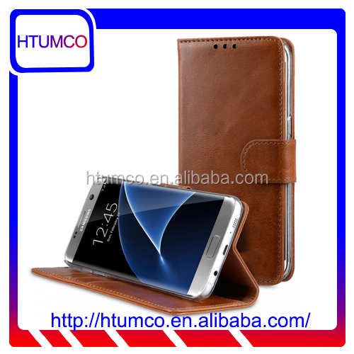 Folio Stand Stylish Genuine Leather Case for Samsung Galaxy S7 Edge