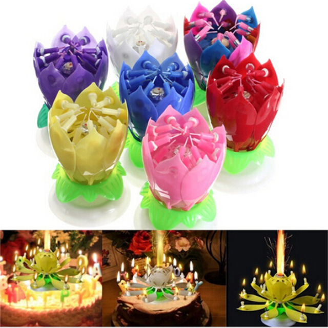 1PC Beautiful Blossom Lotus Flower Candle Birthday Party Cake Music Sparkle Cake Topper Rotating Candles Decoration
