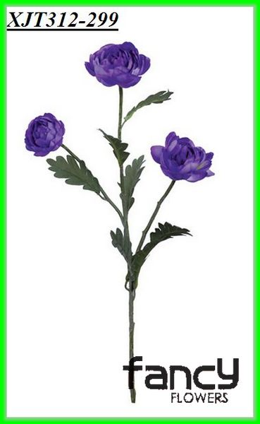 3 heads purple artificial flowers latex
