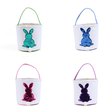Easter Decoration Custom Sequin Canvas Easter Bunny Bag Easter Bucket