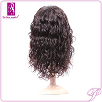 Brazilian Celebrity Curly Wave Human Hair Black Grey Lace Front Wig