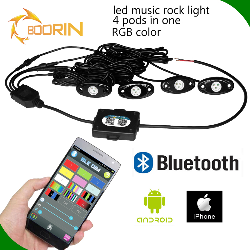 RGB LED Rock Light Kits Cell Phone APP Bluetooth Control 4 Pods in 1 Led Lights for Car Jeep Truck Underbody with Flashing&Music