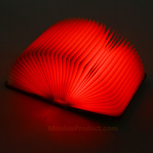 LED Book Light - 5 Color Folding Book Shape LED Night Light Novelty USB Rechargeable Lamp