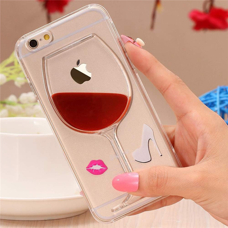 3D Red Wine Cup Liquid Transparent Cell Phone Case Cover For Apple iPhone 4 4S 5 5S 6 6S 6 Plus Phone