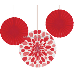 3pk plain red and polka dot red Chinese hanging paper craft fan for wedding decoration 12 inch and 16 inch