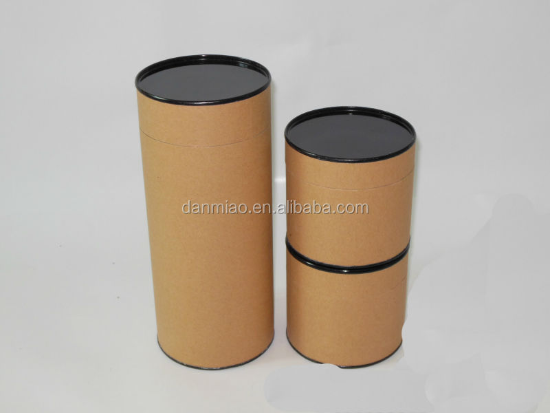 Brown kraft paper container with black tin lid
