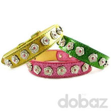 Nappa Leatheroid & Zinc alloy Pink Flower pet collar