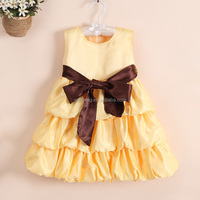wedding party yellow small girls dresses soft new kids cotton frocks design