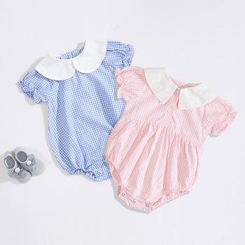 2019 summer infant baby girl baby plaid round neck cotton short-sleeved romper