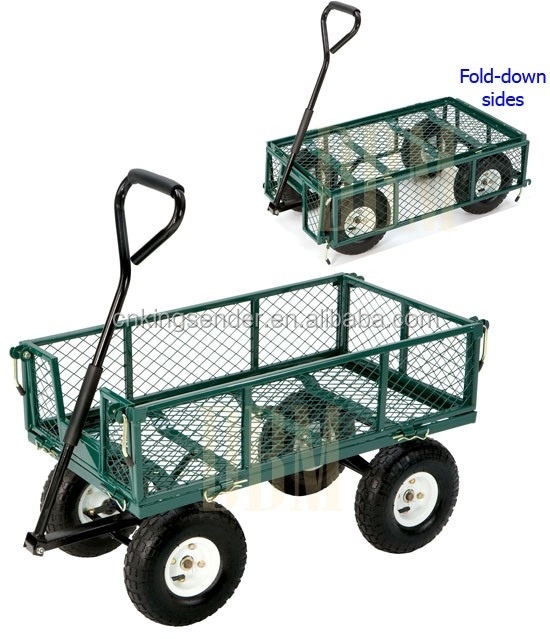 Folding Sides Steel Mesh Garden Wagon Cart