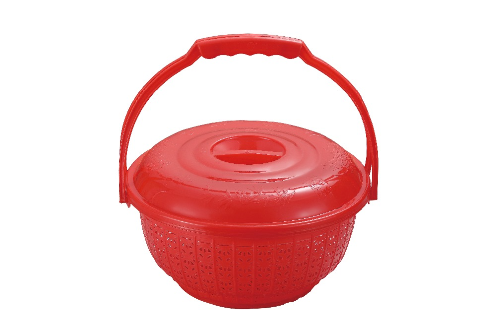 Jieyang Factory PP Material Handle Plastic Basket With Cover