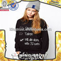 2016 black cotton womens hoodies fashion hoodies with design