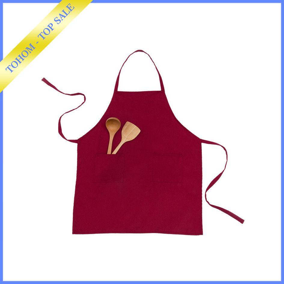 Custom printed promotional cotton garden/kitchen cooking apron with pocket