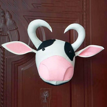 popular 2018 Custom Black fur animals <strong>wall</strong> mounted cow head