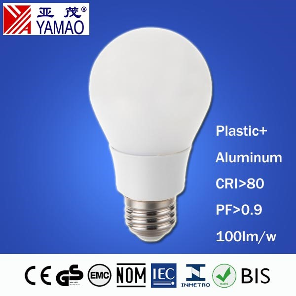 Yamao CE RoHs EMC LVD 15000Hrs Lifespan 85-265V E27/B22 Base CRI80 Plastic and Aluminum Housing 9W 800lm A60 LED Bulb Light