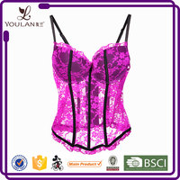 Factory Price Fantastic Pink Transparent Lace Bra Sexy Mature Bodysuit