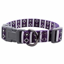 Polyester purple dog collar with customized logo