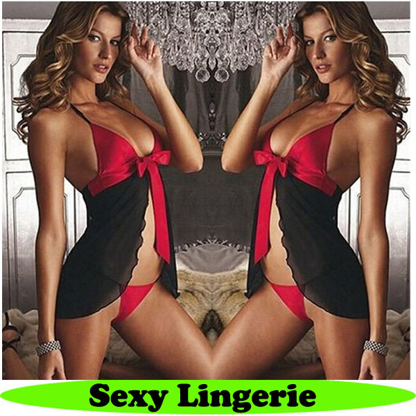 hot black/red transparent nightwear for women sexy lingerie