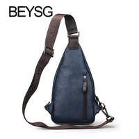wholesale fashion unisex chest bag pu leather triangle bag sports sling bag