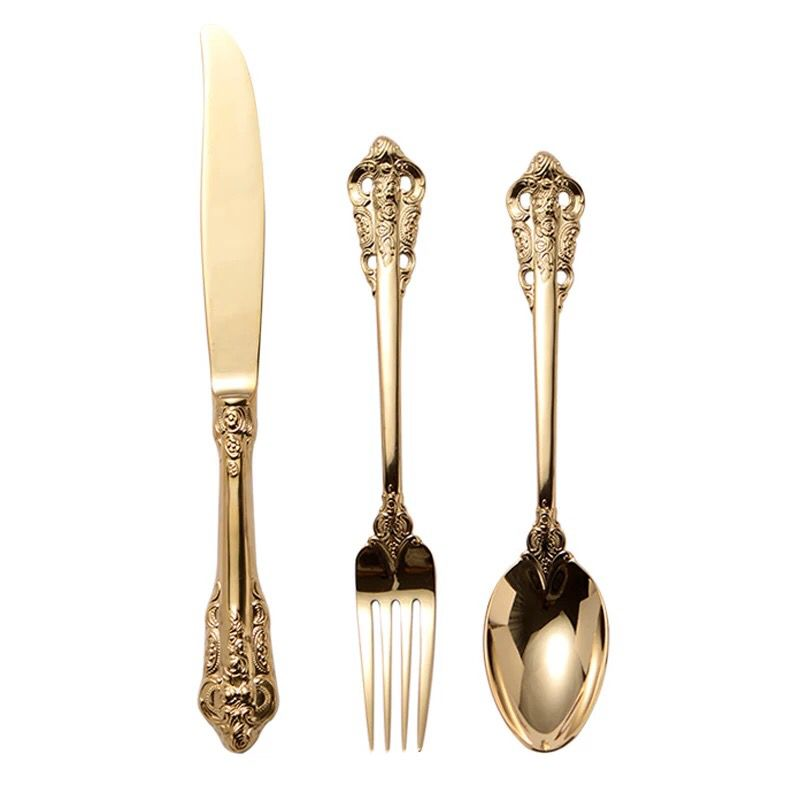 18/10 Stainless Steel Cutlery Gold Palace Style Luxury Knife Fork And Spoon stainless steel cutlery wedding cutlery <strong>sets</strong>