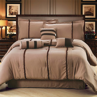Homehug 7Pc Polyester Short Brushed Comforter Set Exquisite Belt Sewing Pattern Queen Size Color Coffee