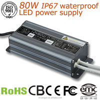 12Vdc constant current 6500ma 80w led power supply waterproof IP67 led driver