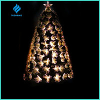 2016 newest 4FT gold PET warm white LED lights Fiber Optic Christmas Tree outdoor