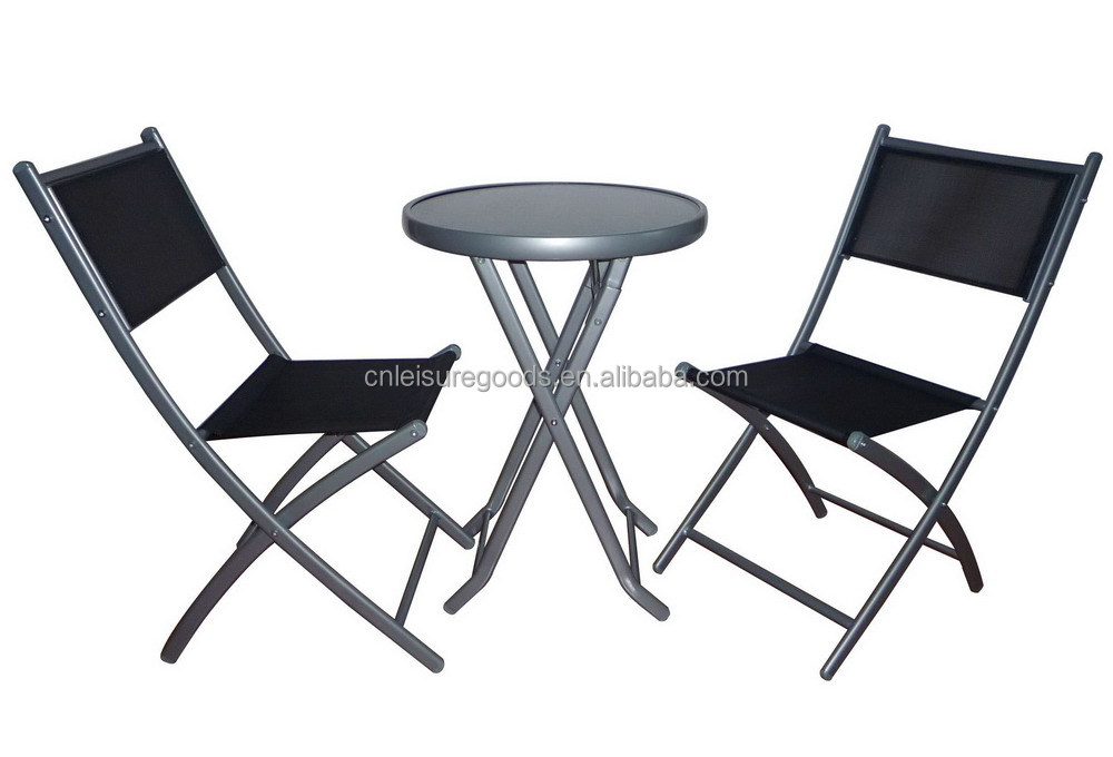 Outdoor Table And Chair 3 Piece Folding Metal Bistro Set