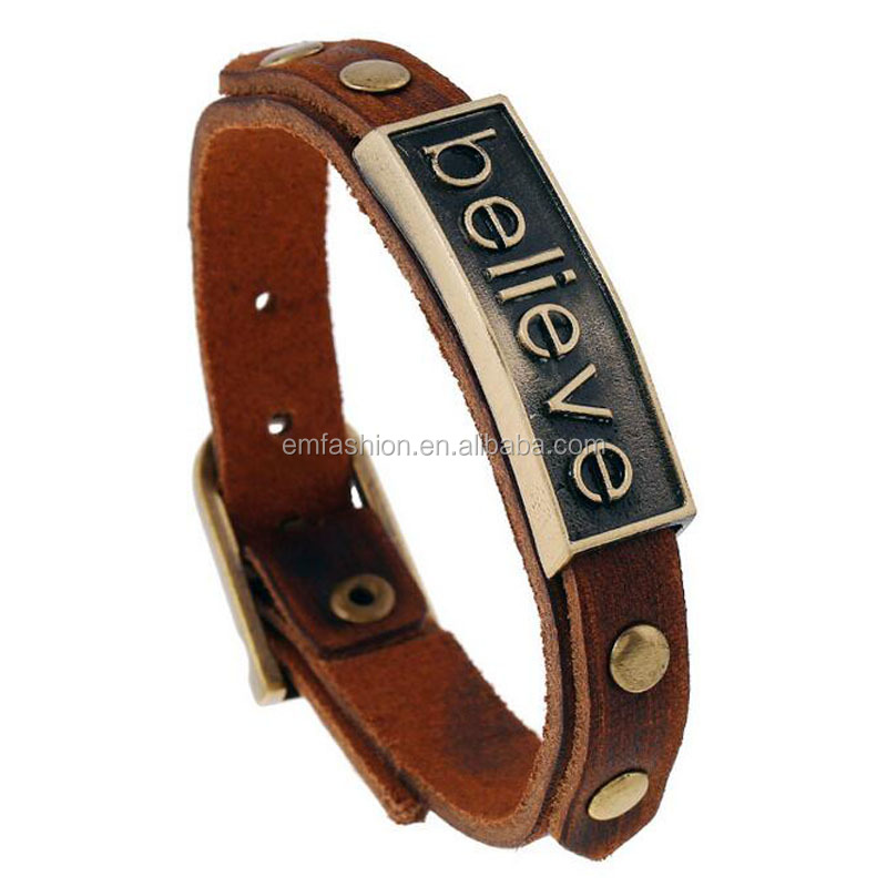 Antique Brass Believe Letter Carved Men Genuine Leather Bracelet
