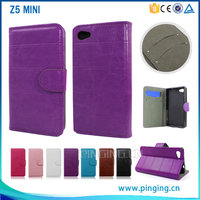 Factory price wholesale cross grain pu leather cover flip case for Sony Z5 Mini with kickstand stand case