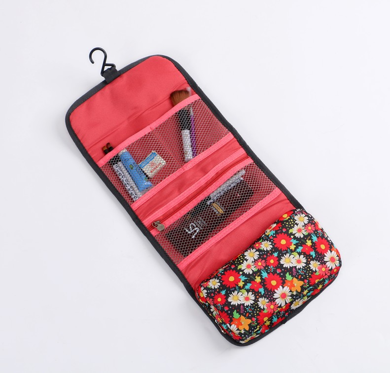 <strong>Travel</strong> Hanging Toiletry Kits Waterproof Floral Cosmetic Bag Triple Foldable Toiletry Bag