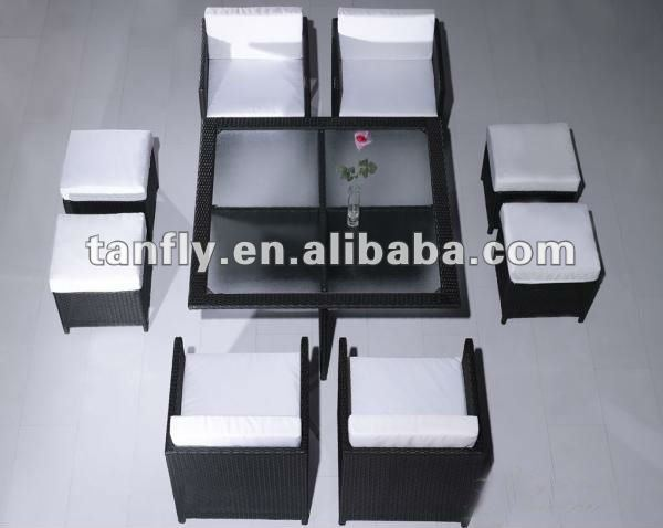 rattan wicker outdoor cube dining sofa table set