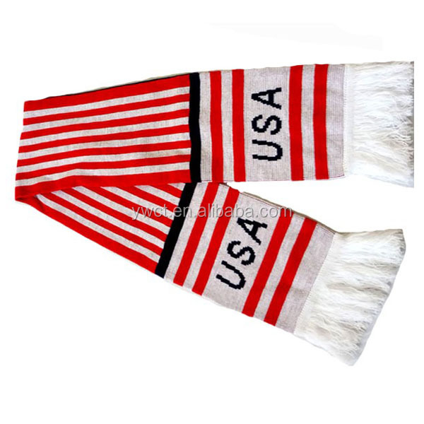 OEM Jacquard Knitted Pattern Football Fans Scarf American Flag Scarf