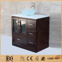 Free Standing Tempered Glass Top Vessel Sink Solid Wood Bathroom Vanity