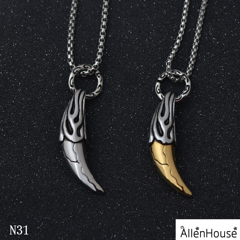 Wholesale Retro Antique Silver Vintage Pendant African Buffalo Horn stainless steel Necklace