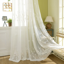 Popular pure white sheer embroidery living room curtain