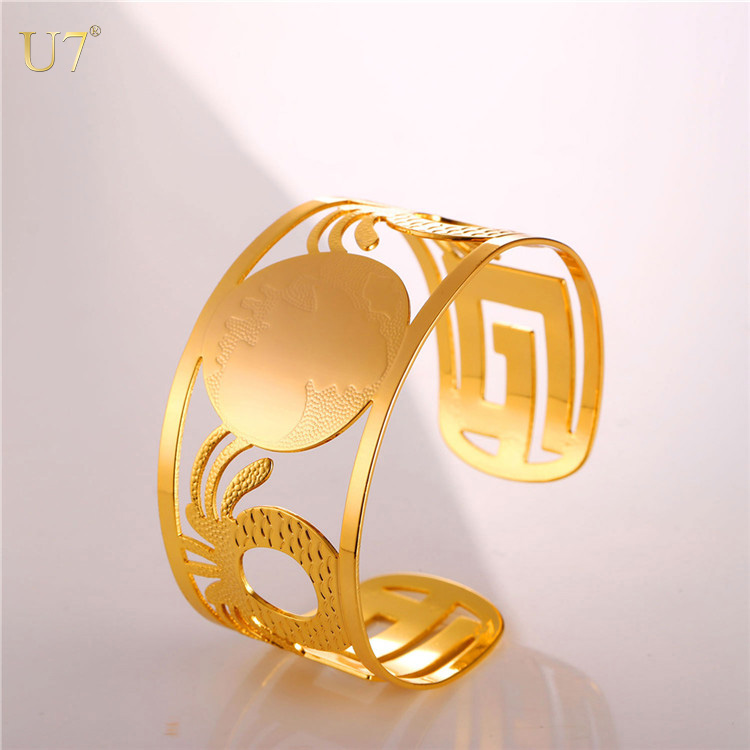 U7 2017 women bangles femme opened jewelry 18k gold plated Africa map wide cuff bracelets