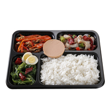 Hot Sale Black 4 Compartments Plastic Disposable Microwaveable Lunch Box with Clear Lid