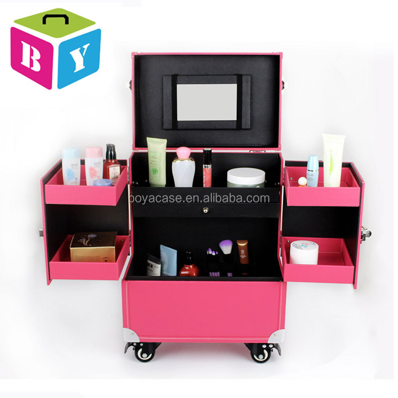 trolley PVC leather beauty makeup artist vanity cosmetic hard case on wheels with brake