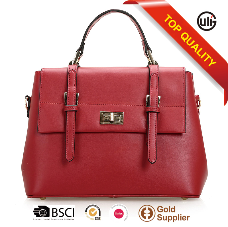 Leather goods wholesaler luxury cow leather tote bags woman fashion handbags 2016 sling bags for ladies