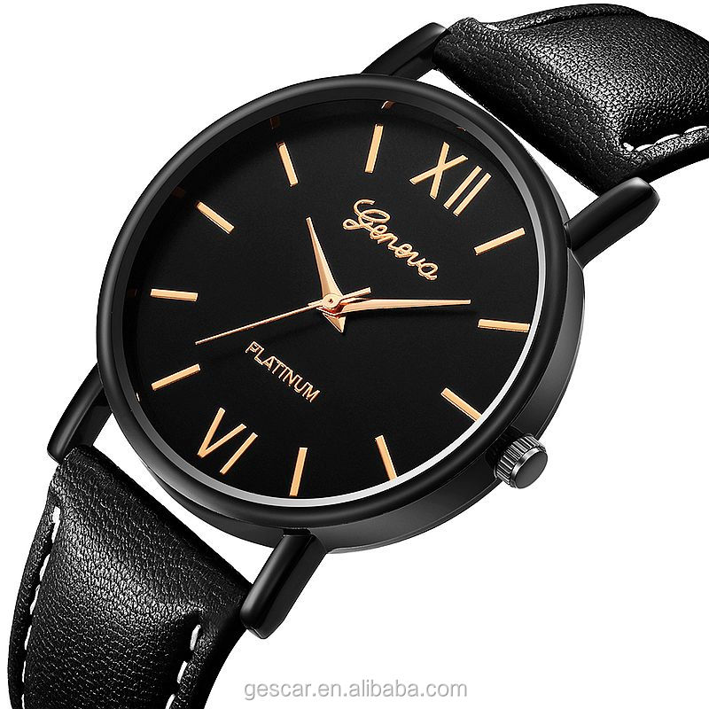 614 stylish hot selling geneva brand men casual leather wristwatches wholesale clock