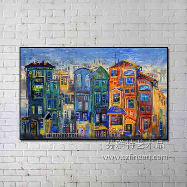 Fashion Modern Abstract City View Oil Painting