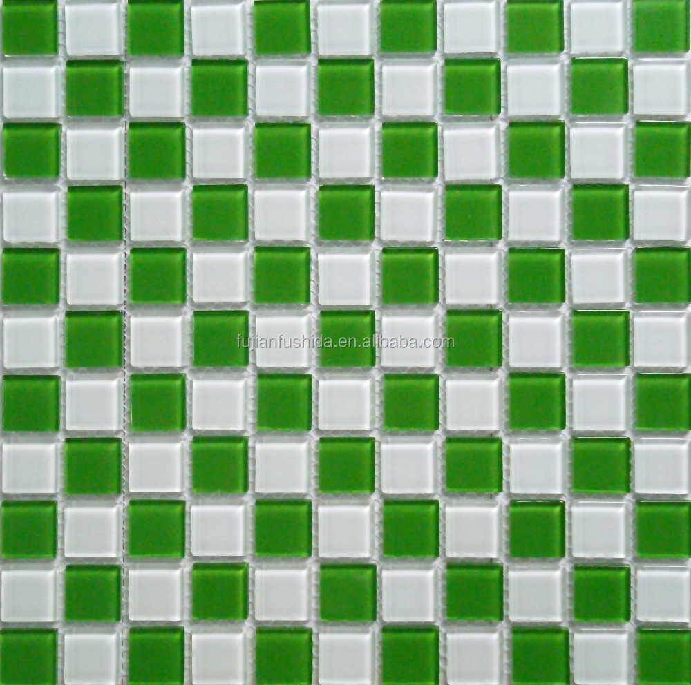 300x300mm latest design green/whtie gradient mosaic glass tile