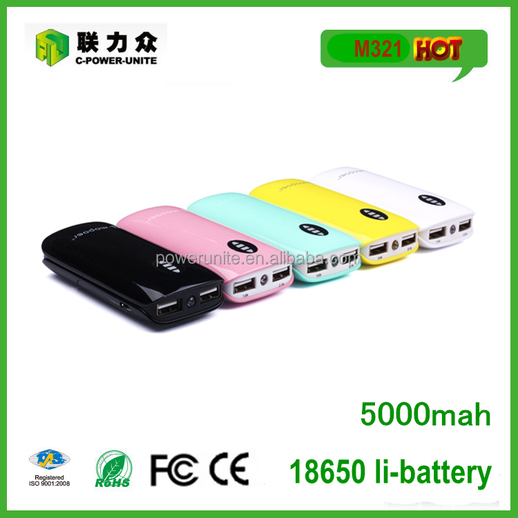 Wholesale power bank 5000mah rohs charger with 2a dual output for mobile charging!